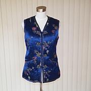1960s / 1970s Deep Blue Oriental Style Vest