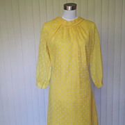 1960s Yellow Cocktail Dress with Flocking
