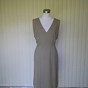 1940s Taupe Pin Striped Jumper / Dress