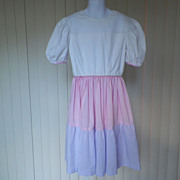 1980s Girl's Pink and Lavender Summer Dress Tiered Skirt