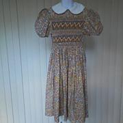 1970s Girl's Smocked Dress in Earth Tones