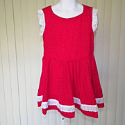 1960s Girl's Red Cotton Dress with White Polka Dots