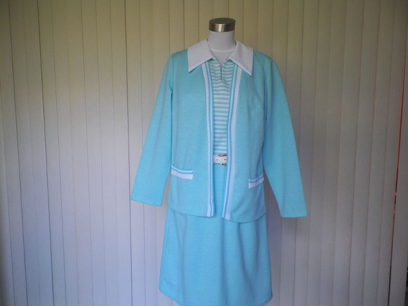 1970s Blue & White Striped Jacket Dress