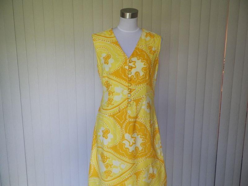 1960s Yellow and Orange Mod Print Shift Dress