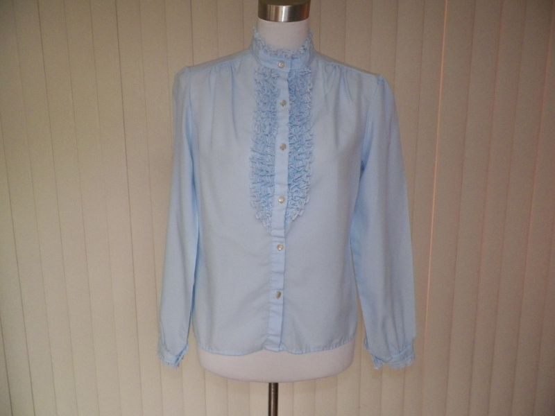 1970s Baby Blue Dress / Suit Blouse with Ruffles