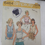 1974 Simplicity Sewing Pattern 6464, Camisole Tops