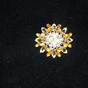 Vintage Rhinestone Bro0ch / Pin Yellow / Amber