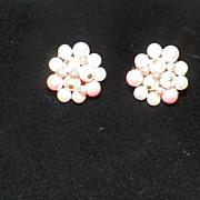 Vintage Pink & White Beaded & Metal Clip On Earrings