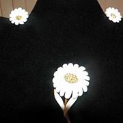 Vintage Three Piece Metal Floral Earrings & Brooch Set