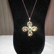 Vintage Large Amber & Green Rhinestone Pendant / Necklace