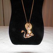 Vintage Metal Lion Pendant / Necklace