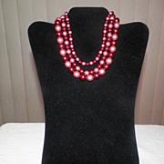 Vintage Three Strand Burgundy Beaded Necklace