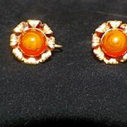 Vintage Metal Screwback Orange Beaded Earrings