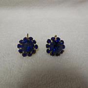 1950s / 1960s Royal Blue Rhinestone Screw Back Earrings