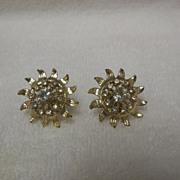 Vintage Metal Flower Screw Back Earrings w/Rhinestones