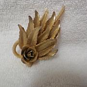 Vintage Metal Floral and Leave Spray Brooch / Pin