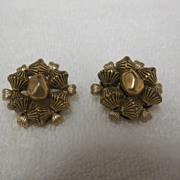 Vintage Large Gold Metal Beaded Earrings - Marvella