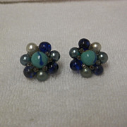 Vintage Shades of Blue Beaded Clip On Earrings
