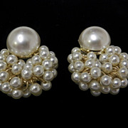 Vintage Large White Faux Pearl Clip On Earrings