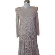 1980s Two Piece All Ivory Lace Cocktail Dress / Wedding Dress