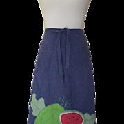 1970s Denim Blue Wrap Skirt w/Watermelon Applique