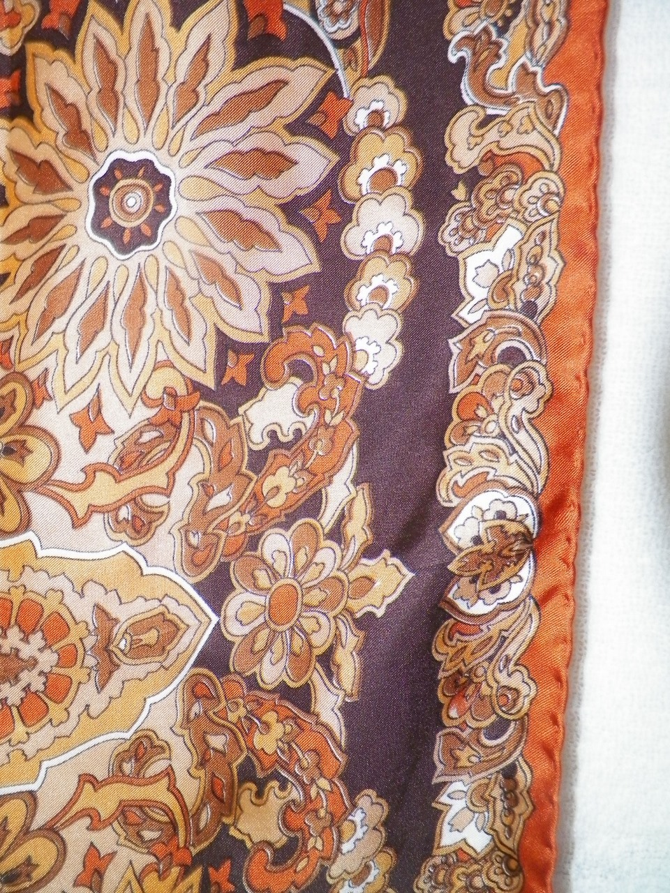 vintage silk scarf in fall colors italy from rubylane