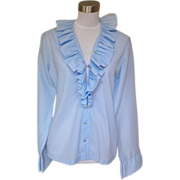1970s Vintage Baby Blue Dress Blouse Ruffled Collar