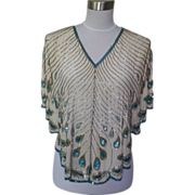 1970s Vintage Heavily Beaded Silk Blouse / Top