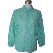 1970s Vintage Aqua Green All Lace Blouse / Top