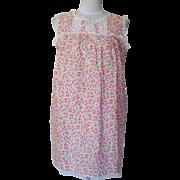 1960s Vintage Pink & Blue Floral Baby Doll Pajamas