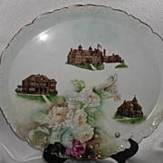 SALE HUGE! T & V Limoges Brightside Oval Tray 1895-1907 Peonies Orphanage & Hospital Buildings