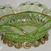 REDUCED Exquisite Diamond Quilted Green Glass Footed Bowl Ruffled Rim Cut Gold Flowers