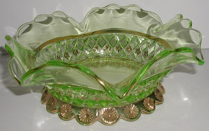 Exquisite Diamond Quilted Green Glass Footed Bowl Ruffled Rim Cut Gold Flowers