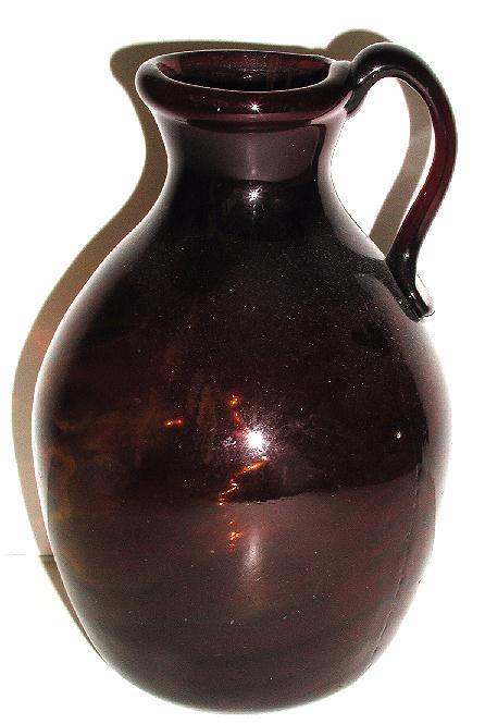 1800s Hand Blown Brown Glass Jug Swirl Pattern Applied Handle Rough Pontil