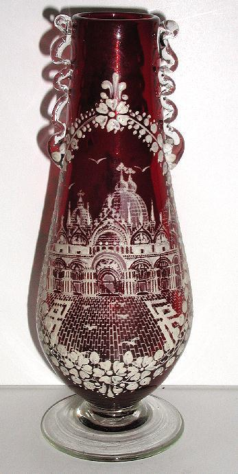 Amazingly Detailed Hand Painted White Enamel Ruby Red Vase Palace & Courtyard Scene Flowers Clear Applied Handles