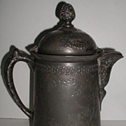 Antique Pairpoint Quadruple Silverplate Ice Water Pitcher Hinged Lid Ornate Floral Etched & Em