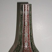 REDUCED Vintage Bohemian Glass Flashed Green & Rose Footed Vase Etched Floral Panels