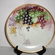 "Jaeger & Co.Bavaria Germany Signed Hand painted 9.75""  Grape Plate  Red Purple Yellow & Green Grapes Handpainted"