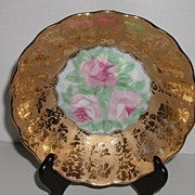 REDUCED Stunning Artist Signed Encrusted Floral Gold Bowl Pink Roses Fluted Scalloped
