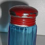 REDUCED Very Vintage  Gayner Glass Co N. J. Cobalt Blue Ribbed Salt / Pepper Shaker Red Metal