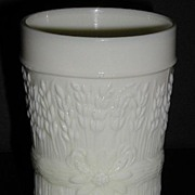 Old Northwood Glass Custard Glass Tumbler Harvest Flower Signed Banded Wheat & Floral