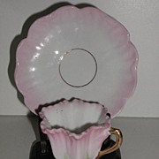 REDUCED Old Victorian Pedestal Demitasse Cup & Saucer Pink White Green Gold Embossing Delicate