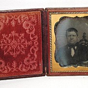 REDUCED Lovely Leather Bound Floral Daguerreotype Case With Seated Man 1850s