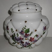 Exquisite Vintage Consolidated Glass Tufted Pillow Milk Glass Covered Jar Hand Painted Violets