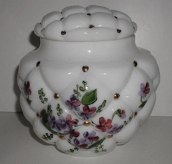 Exquisite Vintage Consolidated Glass Tufted Pillow Milk Glass Covered Jar Hand Painted Violets & Gold Beads Original Sticker Large