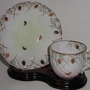 REDUCED Incredible Vintage Petite Demitasse Cup & Saucer Hand Painted GOLD Chestnuts & Butterf