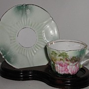 REDUCED Vintage Petite Pink Hand Painted Pink Rose Demitasse Cup & Saucer Snowflakes Two Green