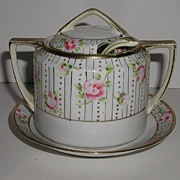 REDUCED Vintage Hand Painted Nippon 3 Pc Covered Jam Or Relish Or Condiment Jar Pink Roses Gol