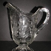 REDUCED 1890s Lovely EAPG Pattern Glass Pitcher Branched Tree Dalzell Gilmore & Leighton ...