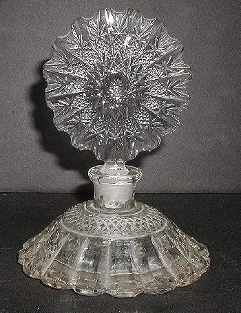 Exquisite Vintage EAPG Early American Pressed Glass Perfume Bottle Footed Incredible Stopper